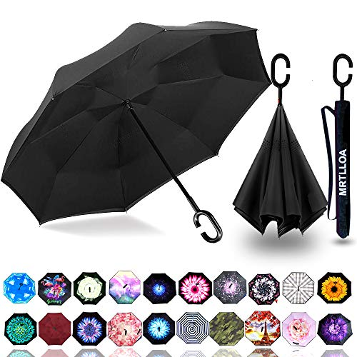 MRTLLOA Inverted Umbrella, Umbrella Windproof, Reverse Umbrella, Umbrellas for Women with UV Protection, Upside Down Umbrella with C-Shaped Handle for Mothers Day Gifts(Black)