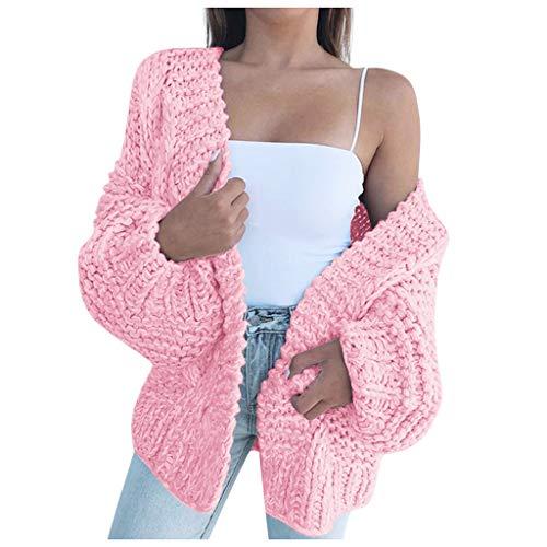 CAOQAO Damen Strickpullover Grobstrick Sexy Elegante Schulterfrei Mantel Pullover beiläufiger Langer Hülsen Fester Strickjacke Wolljackemantel