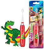 Brush Baby KidzSonic Toddler and Kid Electric Toothbrush for Ages 3+ Years - Disco Lights, Gentle Vibration, and Smart Timer Provide a Fun Brushing Experience - Dinosaur