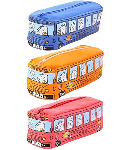 Trousse Crayons Grande Capacité YUESEN Trousse Anime 3pcs Bus Scolaire Sac Enfants étudiant Élève papeterie Pouch Pencil Case Scolaires Bureau Pour Garçon Fille Ado Étudiant