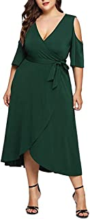 Dress for Women, Botrong Long Sleeve Solid Plus Size V-Neck Dress Off Shoulder Party Mini Dress XX-Large Green