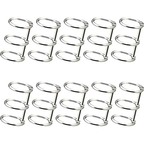 10 Pieces 3 Ring Metal Loose Leaf Binders Book Rings with 20 mm Inner Diameter for DIY Travel Diary, Photo Album, Binding Spines Combs (Silver)