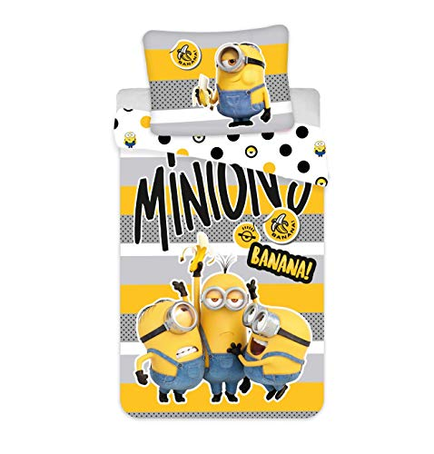 Jerry Fabrics Minions Bettwäsche Bob Kevin Stuart Banana Kopfkissen Bettdecke für 135x200 Set