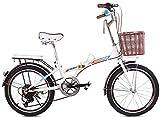 Pkfinrd 20 Pouces vélo Pliant Shifting - Les Hommes et Les Femmes Shock Absorber vélo - Double Disque de Frein vélo Pliant Shifting - Lady Adulte Vélo, Bleu (Color : White)