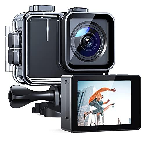 APEMAN Action Cam A100, Nativo 4K 30FPS 20MP WiFi Impermeabile 40M Fotocamera, Avanzato Sensore Super EIS Stabilizzata Videocamera, Telecomando con 2 1350mAh Batterie