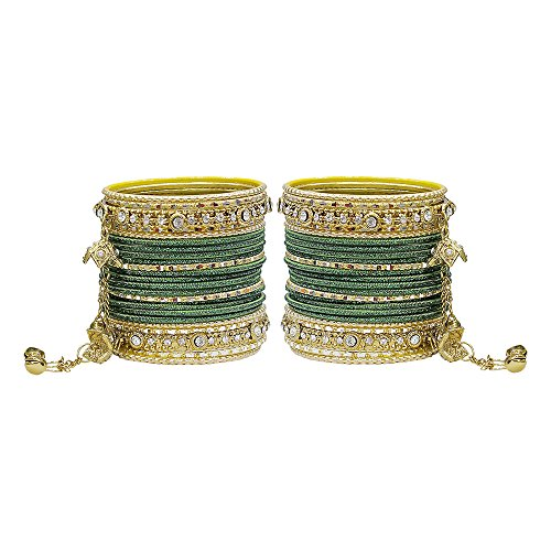 MUCH-MORE Gorgeous Collection Fashion Made of Latkan Bangles for Women & Girls (B-Green, 2.6)