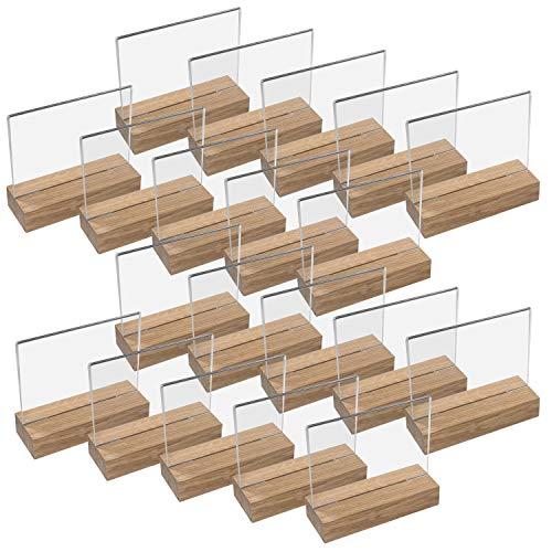 HMF 46941 Acryl Tischaufsteller mit Holzfuß   20 Stück   DIN A6 Querformat   Glasklar
