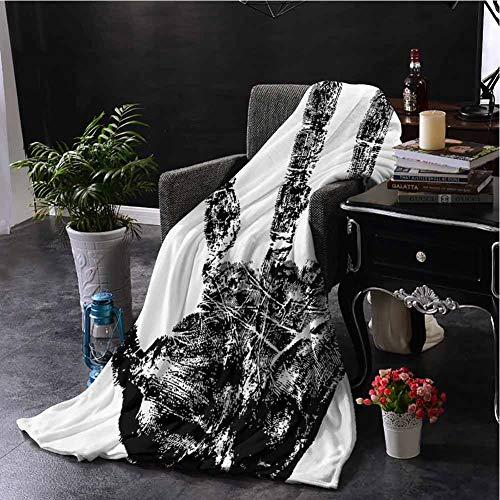 Nooweihome Manta moderna para sofá con dedos humanos en Grunge Motley estilizada de identidad con pantalla táctil, textura lisa, suave para manta de 90 x 70 pulgadas, color negro