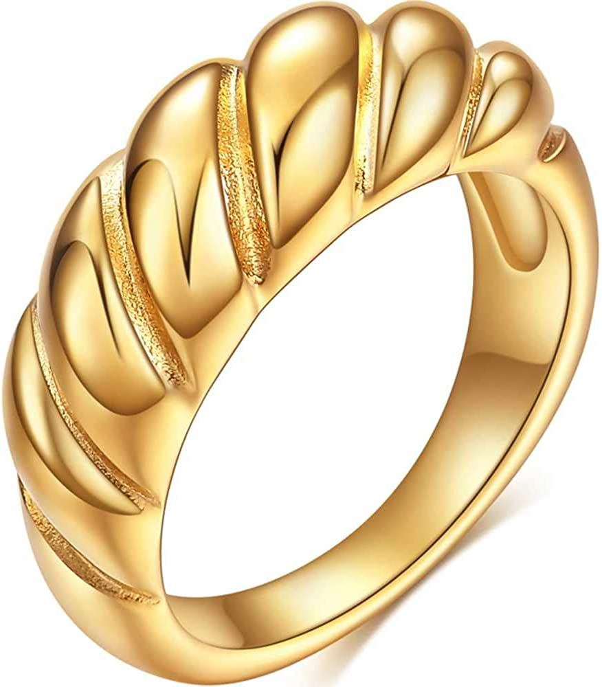 Stainless Steel Twisted Style Classical Plain Wedding Engagement Promise Anniversary Band Ring