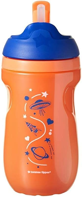 Tommee Tippee Insulated Straw Cup 12m Orange Space