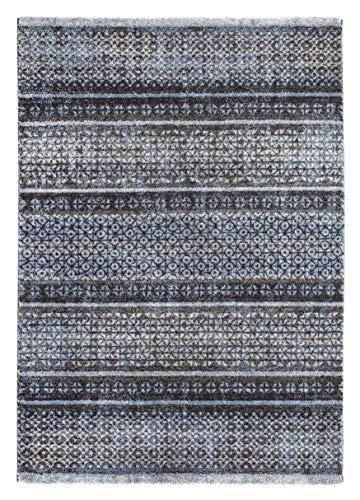 Luxor Living Webteppich San Fernando Ornamente Vintage Schadstoff geprüft, blau-grau, Polypropylen, 67 x 140 cm