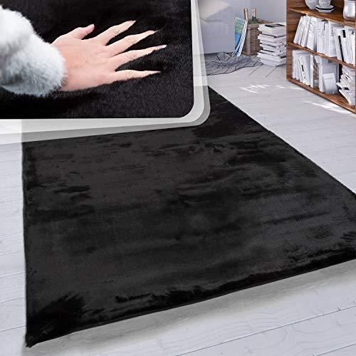 Paco Home Tappeto a Pelo Lungo per Soggiorno in Ecopelliccia ultrasoffice Tinta Unita in Diversi Colori e Misure, Dimensione:140x200 cm, Colore:Nero