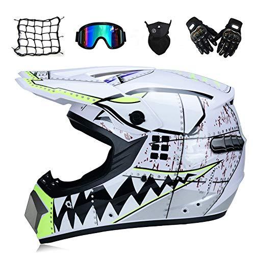 MRDEAR Weißer Hai - Motocross Helm mit Brille Handschuhe Maske Motorrad Netz, Motorrad Crosshelm Kinder Off Road Helm Motorradhelm Schutzhelm Kit für ATV Downhill MTB Sicherheit Schutz,S