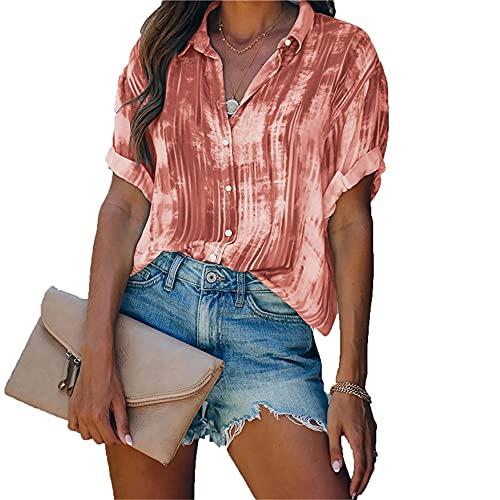 Camisa Mujer Elegante Moda Tie Dye Botones con Cuello En V Primavera Verano Moda Urbana Vacaciones Casual Mujer Linda Mujer Blusa Mujer Camisas D-Red XL