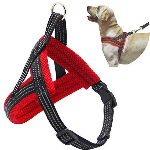 BPS® Arnés Correa para Perros Mascotas Collar Ajustable 4 Tamaños Colores para Elegir para Perro Pequeño Mediano y Grande (M, Rojo) BPS-3882R