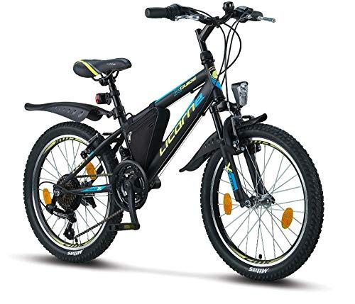 Licorne Bike Guide, (Schwarz/Blau/Lime), 20 Zoll Mountainbike, geeignet für 6,7,8, 9 Jahre,Shimano 18 Gang-Schaltung,Gabelfederung, Kinderfahrrad, Jungenfahrrad, Mädchenfahrrad, MTB, Rahmentasche