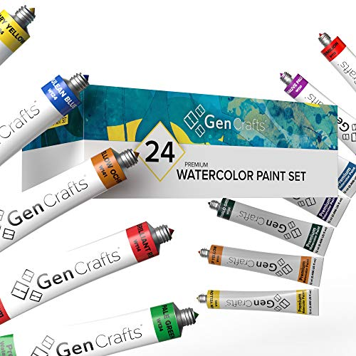 GenCrafts Watercolor Paint Set - Set of 24 Premium Vibrant Colors - (12 ml, 0.406 oz.) - Quality Non Toxic Pigment Paints for Canvas, Fabric, Crafts, and More
