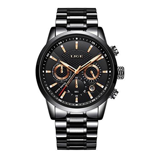LIGE Relojes De Hombre De Pulsera Impermeable Deportivo Cronógrafo De Acero Inoxidable Negro Relojes