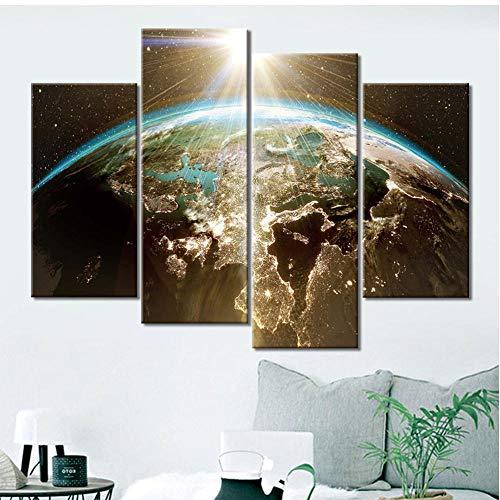LTTGG HD Print Painting Modular Pictures 4 Piezas Aurora Nature Frame Wall Art Poster Modern Home Decoration Canvas Schilderijen