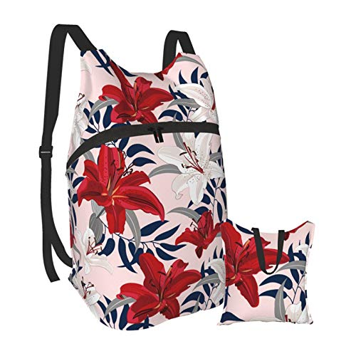 Grafffery Lily Flower Warm Colour Travel Hiking Backpack Daypack Laptop Backpack Lightweight Packable Foldable for Women and Men, College School