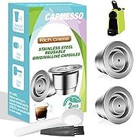 CAPMESSO エスプレッソ 詰め替え可能カプセル 再利用可能 ネスプレッソ エスプレッソ コーヒーポッド ステンレススチールカプセル Nespresso OriginalLine Brewers対応 (クリーミー2ポッドセット)