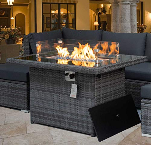 44.1'' Outdoor Patio Propane Fire Pit Table Gray PE Wicker 55,000 BTU Auto-Ignition Doube Pipes Firepits 8mm Tempered Glass Tabletop & Blue Stone,CSA Certification (Gray-44.1'' With Wind Glass)