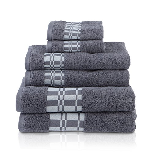 "SUPERIOR Larissa Modern Towel Collection, Geometric Assorted 6-Piece Cotton Towel Set, 30"" x 52"", 16"" x 30"", 13"" x 13"", Gray Nevada"