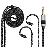FDBRO 8 Cores Silver Plated Earphone Cable Metal Plug with Carbon Fiber Upgrade Cable for Ear-Hook Type Replacement Cable for SE215 SE315 SE425 SE535 SE846 UE900 FH1 F9 (MMCX, Black+3.5mm)