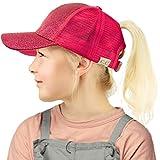 C.C Kids 2-7 Ponytail Messy Buns Ponycaps Baseball Visor Cap Hat Glitter Hot Pink