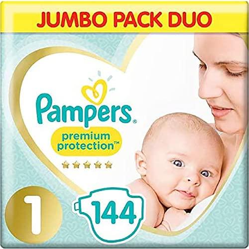 Pampers Pañales de bebé tamaño 1, Paquete Jumbo, protección para Piel Sensible recién Nacida (2-5 kg, 72 x 2 Unidades)
