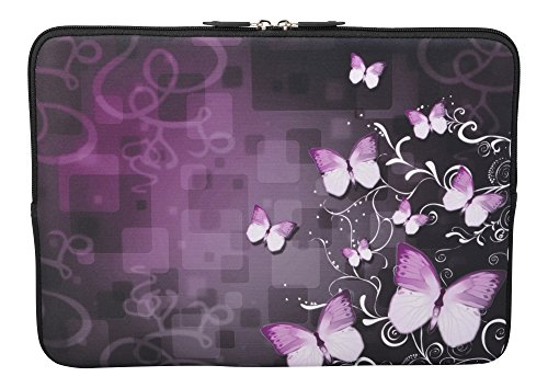 MySleeveDesign Laptoptasche Notebooktasche Sleeve für 10,2 Zoll / 11,6-12,1 Zoll / 13,3 Zoll / 14 Zoll / 15,6 Zoll / 17,3 Zoll - Neopren Schutzhülle mit VERSCH. Designs - Butterfly Fusion [13]