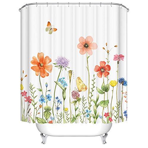 Duschvorhang 120x180 cm Anti-Schimmel Wasserdicht Verdicken Duschvorhänge Winde 3D Digitaldruck mit 12 Weiß Duschvorhangringen für Dusche in Badezimmer