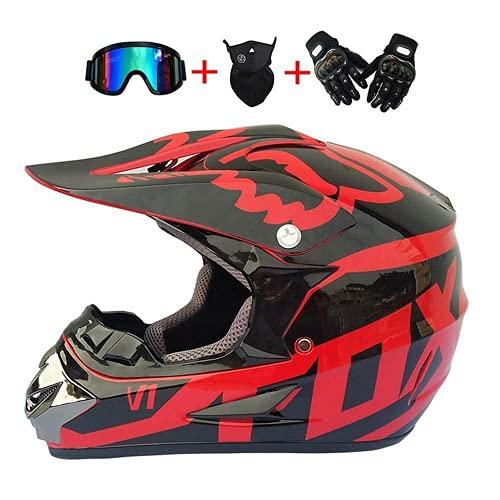 WAHA Casco de Motocross, Conjunto de Casco de Motocross, Guantes/Gafas/Careta, Casco de protección para Hombre y Mujer, Casco de Cross-Country Fox, Rojo y Negro, Talla: S-XL / 54-61cm,S