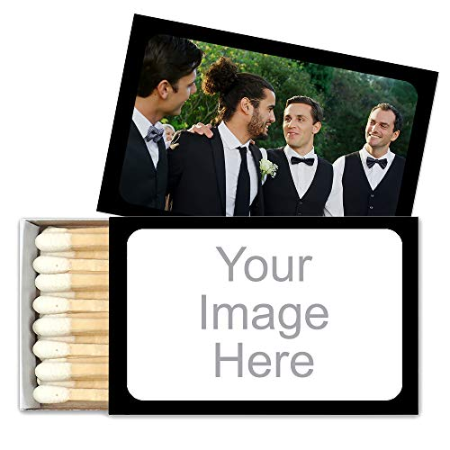 Personalized Custom Matches for Wedding Favors, Birthday Favors, Cigar Bar Matches (Set of 50 Matchboxes) (Black Box)