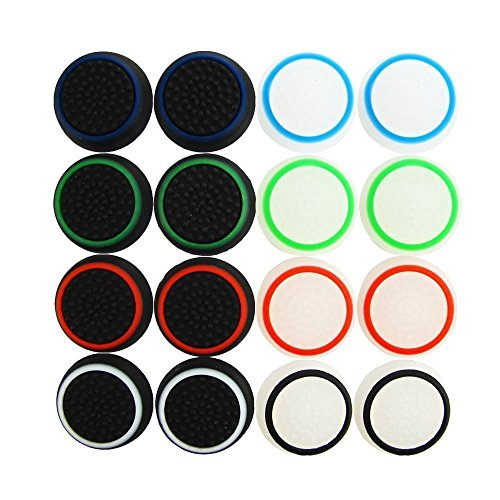 XFUNY 8 Pairs 16 PCS Replacement Silicone Analog Controller Joystick Luminous Thumb Stick Grips Caps Cover for PS4 PS3 PS2 Xbox One 360 Game Controller