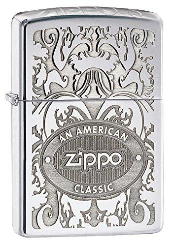 Zippo - Accendino Gleaming Patina in Cromo Lucido