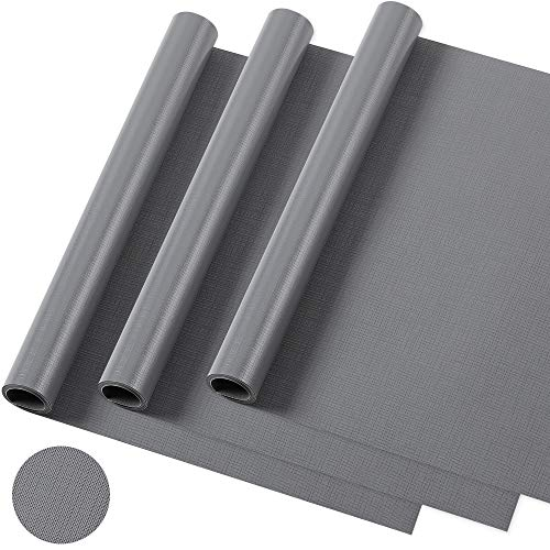 Coralov Schubladenmatte, 3 Pcs DIY Waschbare wasserdichte Antirutschmatte, Antimehltau Antibakterielle Schubladeneinlage für Kühlschrank und Schublade-45x150cm (grau)