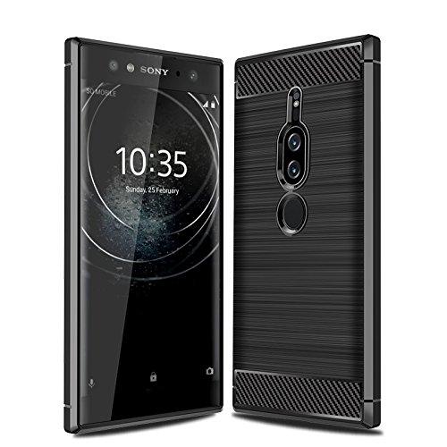 CruzerLite Sony Xperia XZ2 Premium hülle, Carbon Fiber Shock Absorption Slim TPU Cover Schutzhülle für Sony Xperia XZ2 Premium (2018) (Black)