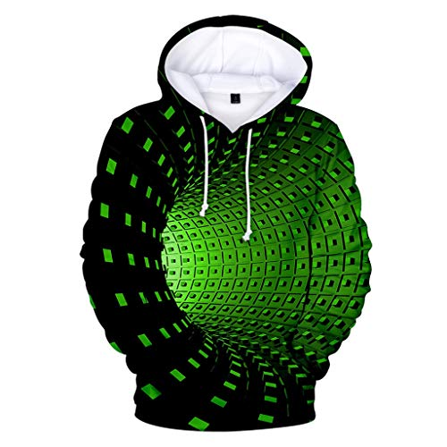 Sweats à Capuche FNKDOR Homme Casual Pull à Manches Longues Sweat-Shirts Hiver Fantaisie Hoodie avec Pochette(H Vert,4XL)