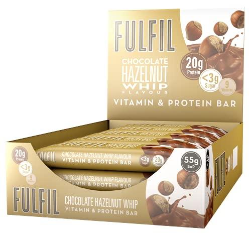 FULFIL Vitamin and Protein Bar (15 x 55g Bars) — Chocolate Hazelnut Whip Flavour — 20g High Protein, 9 Vitamins, Low Sugar