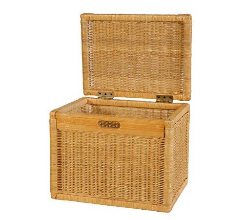 Hoher Korb mit Deckel Rattan geflochten Farbe Honig, Regalkorb, Aufbewahrungsbox - 2