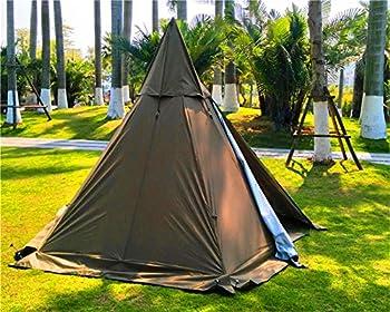 Latourreg Tente Pyramide Pyramide de Camping Portable étanche pour Adulte avec Trou de poêle, Marron