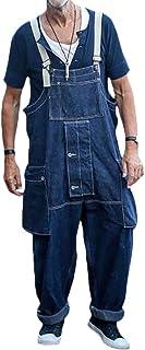 Minetom Jeans Salopette Uomo Sciolto Salopette Pantaloni Tuta in Denim Salopette Casual Lavoro Overall retrò Salopette