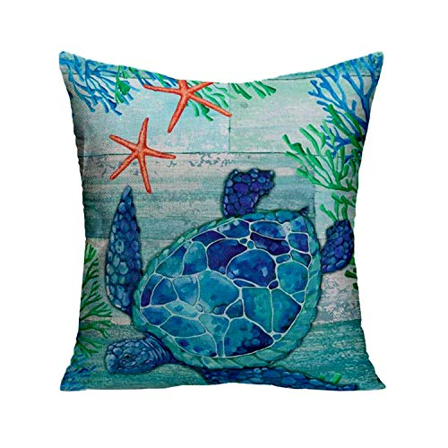 Newhomestyle Turtle Marine Animal Throw Cotton Pillow Case Starfish Coral Blue Green 22x22 Inch Stylish Cushion Case Home Decorative Pillow Cover for Couch Sofa Bed Chair (Two Sided)