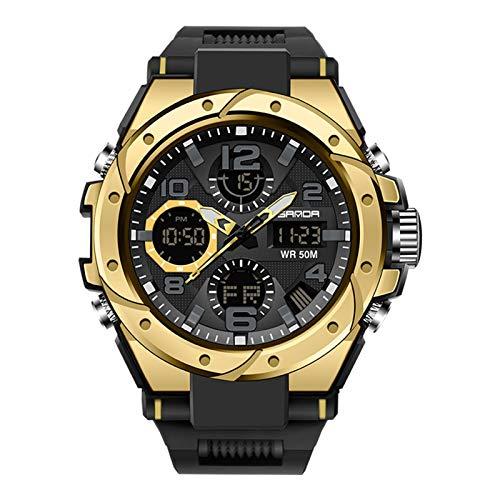SWDCA Reloj Deportivo Digital Multifuncional a Prueba de Agua Reloj Deportivo Masculino y Femenino Estudiantes Personalidad al Aire Libre Hombres y Mujeres creativos Relojes,Black Gold