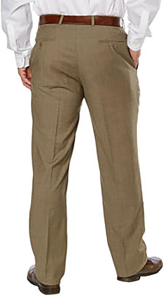 Kirkland Signature Pantalon plat pour homme 100 % laine Marron Clair