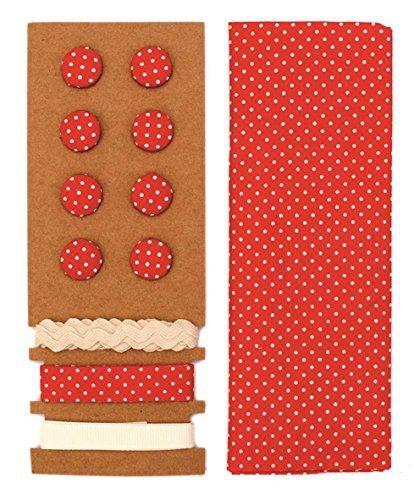 LILI ROSE Jeu de textile rouge pointillé 48x48cm rubans 3x1m 8 boutons