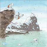 Poster 60 x 60 cm: Der kleine Eisbär, ab ins Wasser! -