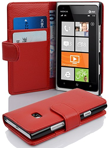 Cadorabo Funda Libro para Nokia Lumia 900 en Rojo Infierno - Cubierta...