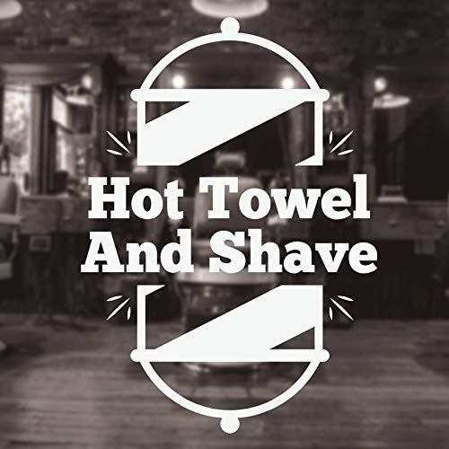 Heißes Handtuch und Rasieren Friseur Vinyl Wand Fenster Aufkleber Moderne Mode Dekoration Removable Hair Cut Art Stickers30 * 42 cm
